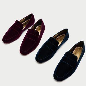 💥LAST CALL💥NWT Zara velvet loafers burgundy